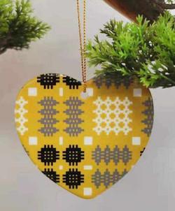 Welsh tapestry print Ceramic heart baubles