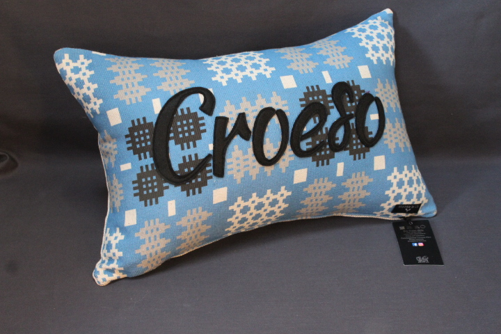 Blue Welsh Tapestry Croeso Cushion