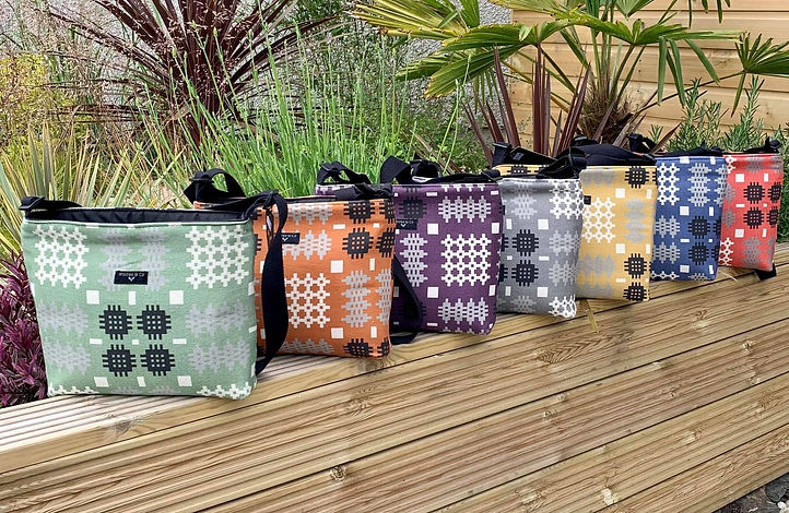 Our Newest creation of Welsh tapestry blanket print Cross Body Bags available in Seven vibrant colours.
