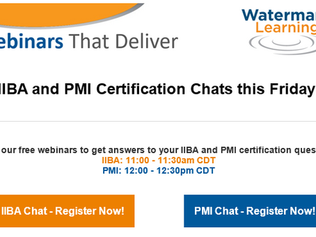 IIBA e PMI Certification Chat de Outubro da Watermark Learning