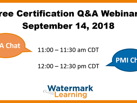 IIBA e PMI Certification Chat de Setembro da Watermark Learning