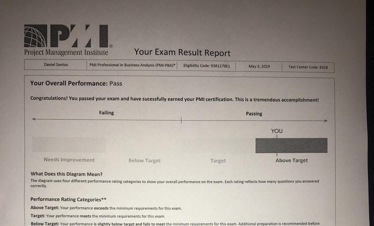 Certificado PMI-PBA Daniel Santos