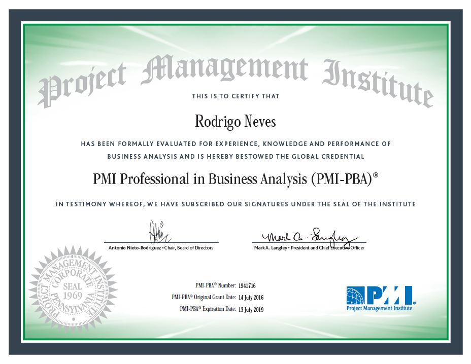 Certificado PMI-PBA Rodrigo Neves