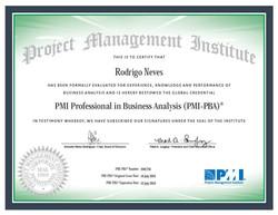 Certificado PMI-PBA Rodrigo Neves