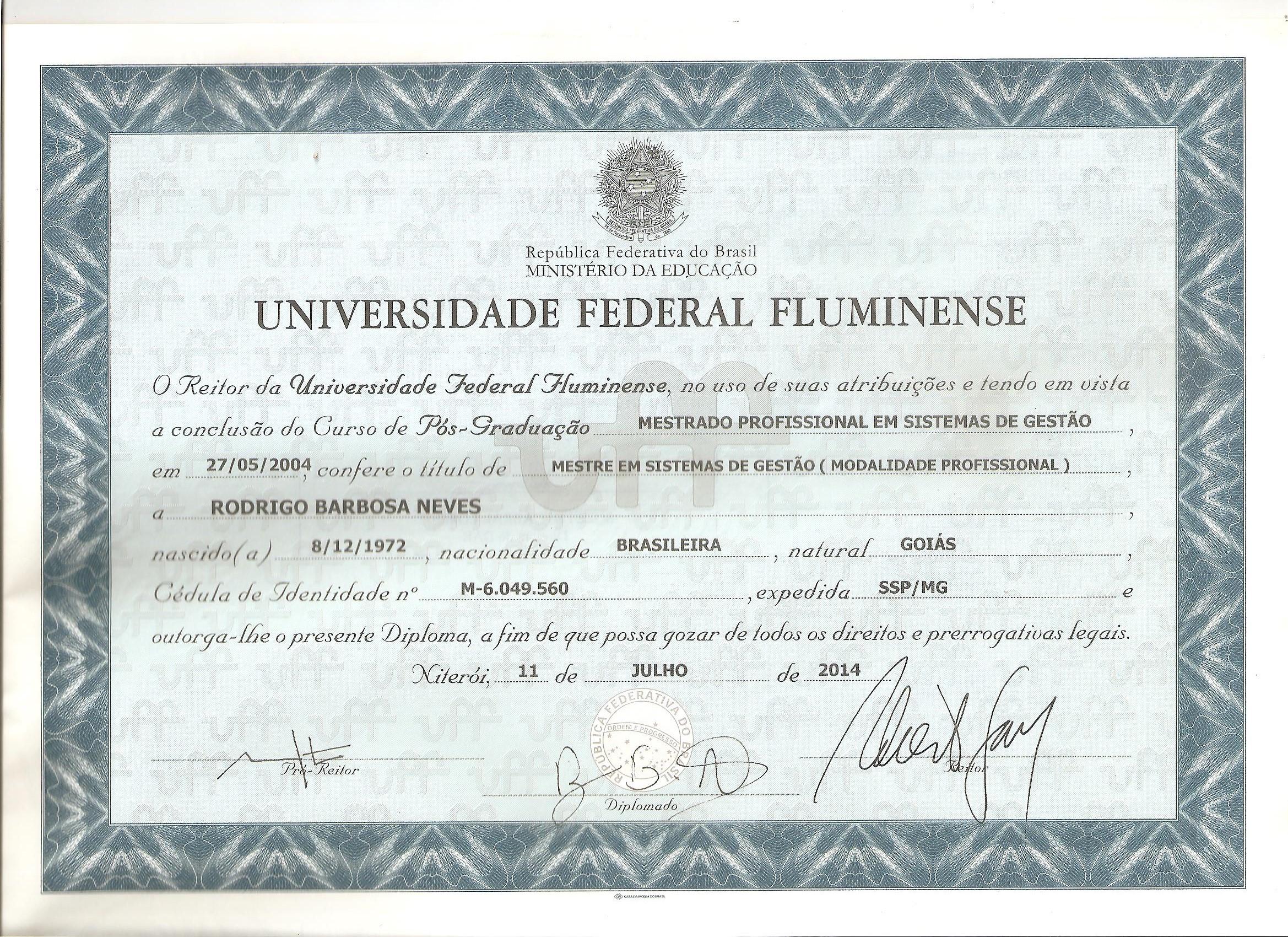 Diploma Mestrado UFF - Frente 001