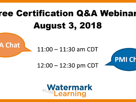 IIBA e PMI Certification Chat de Agosto da Watermark Learning