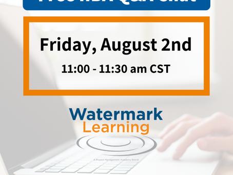 O IIBA Certification Chat de Agosto da Watermark Learning já está marcado!