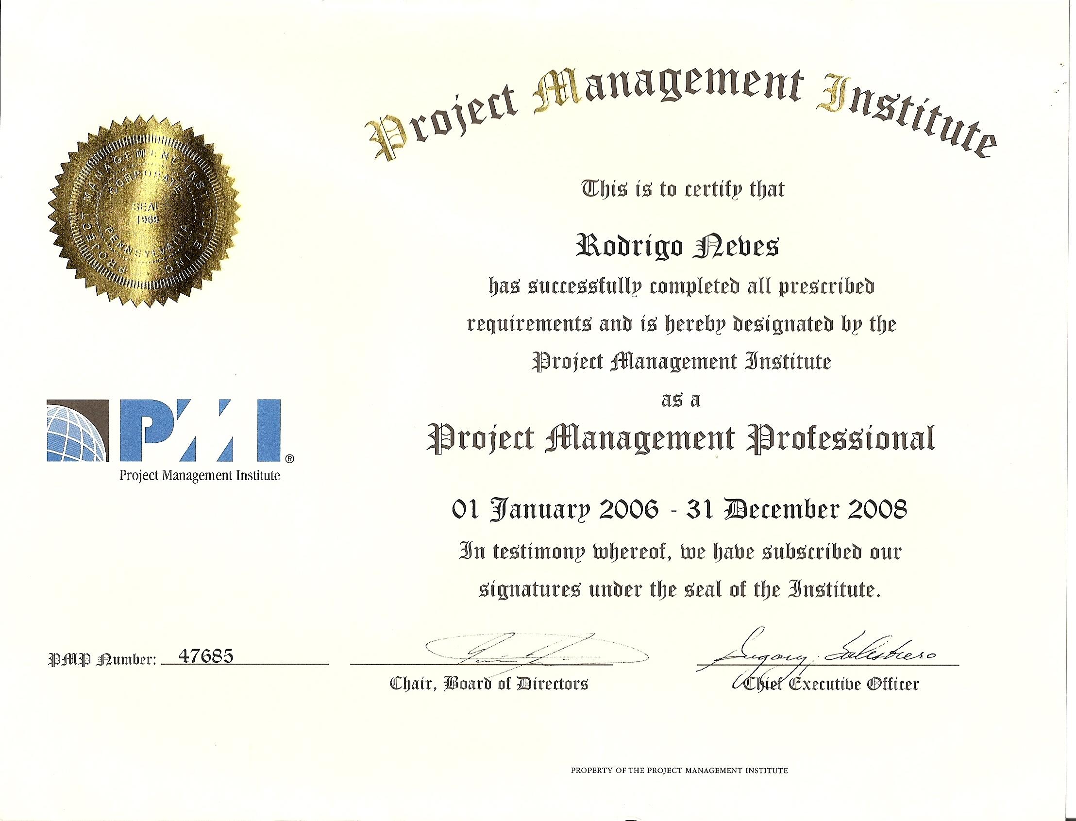 Certificado PMP 2008