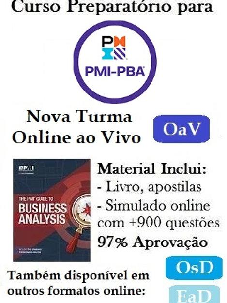 Curso OaV: Preparatório para Certificação PMI-PBA - 20/8 a 29/9/20 (Encerrado)
