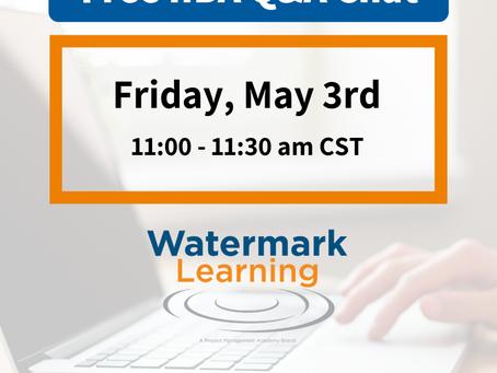O IIBA Certification Chat de Maio da Watermark Learning já tem data!