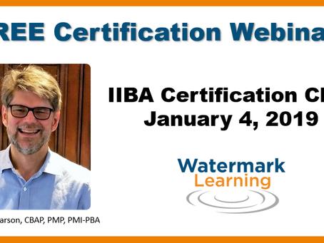 O 1o IIBA Certification Chat de 2019 da Watermark Learning já tem data!
