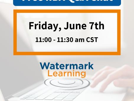 O IIBA Certification Chat de Julho da Watermark Learning já tem data!