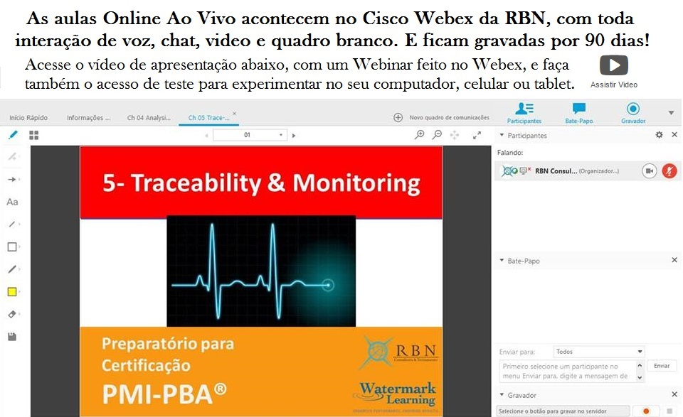Aula PMI-PBA no Cisco Webex RBN