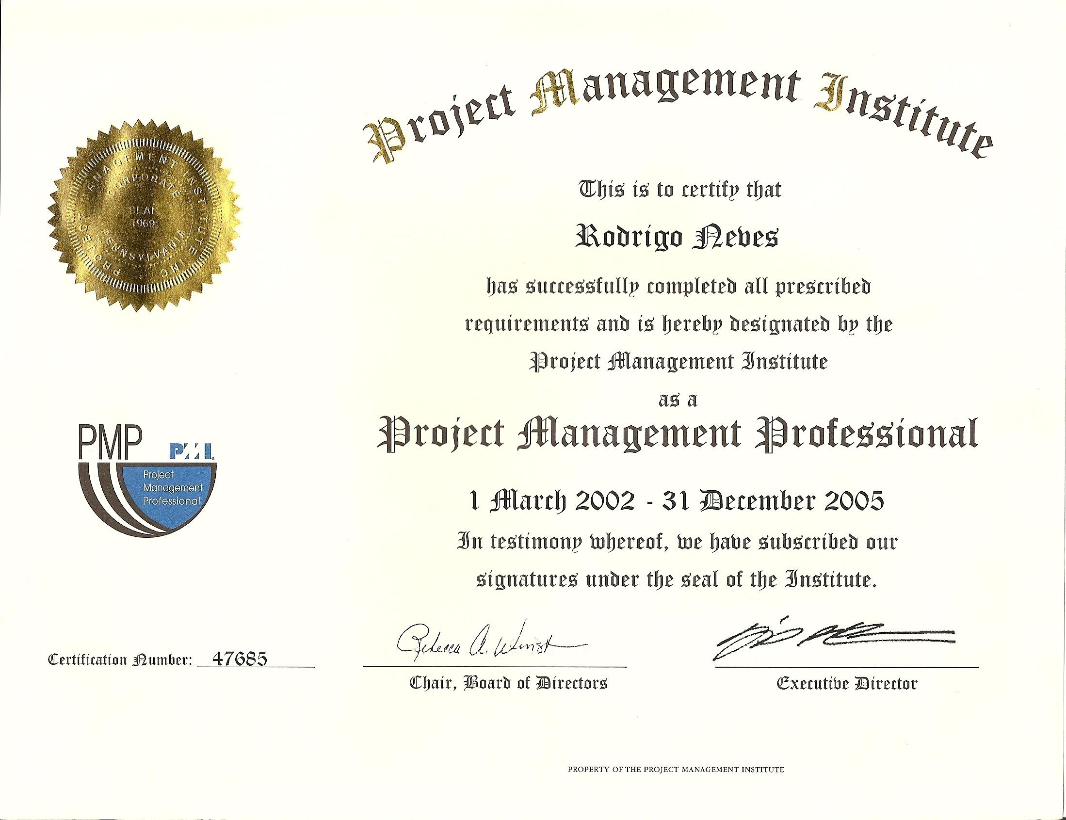 Certificado PMP 2005