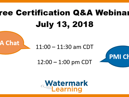 IIBA e PMI Certification Chat de Julho da Watermark Learning