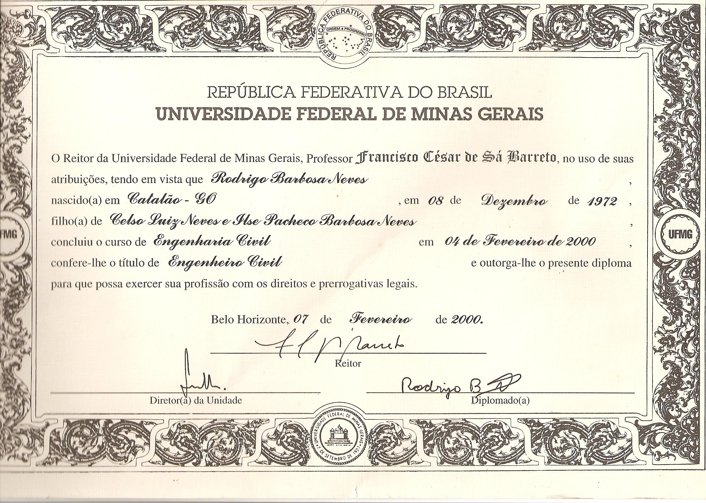 Diploma Eng. Civil UFMG