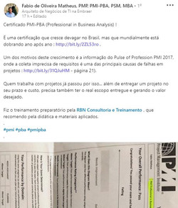 Certificado PMI-PBA Fabio Matheus