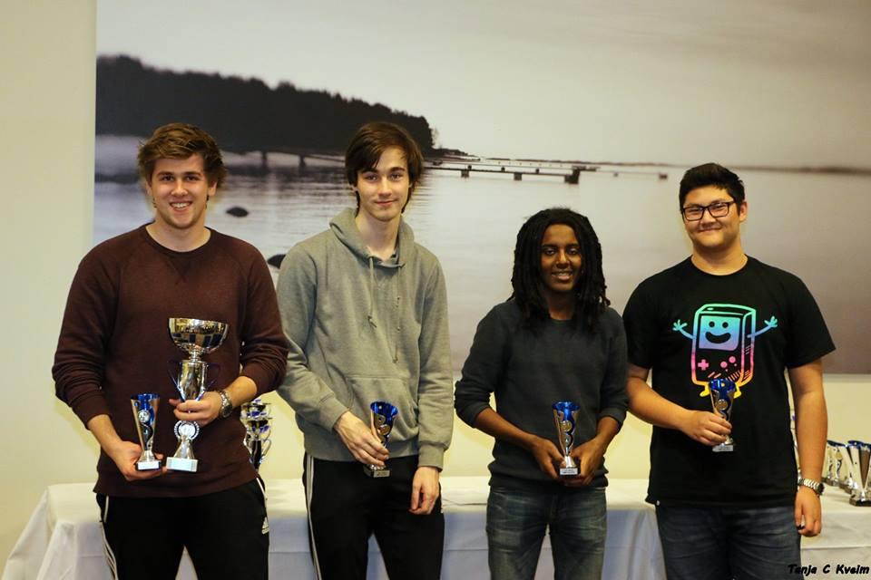 Stavangers førstelag ble Norgesmestere i juniorklassen. Fra venstre: Erlend, Martin N, Andreas og Martin S