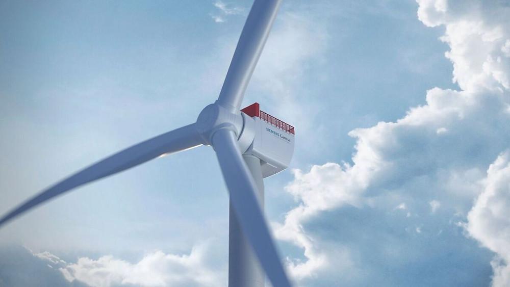 Siemens SG 14-222 DD offshore wind turbine with sky background