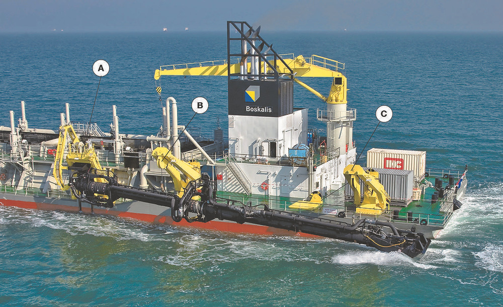 Dredger with a suction arm
