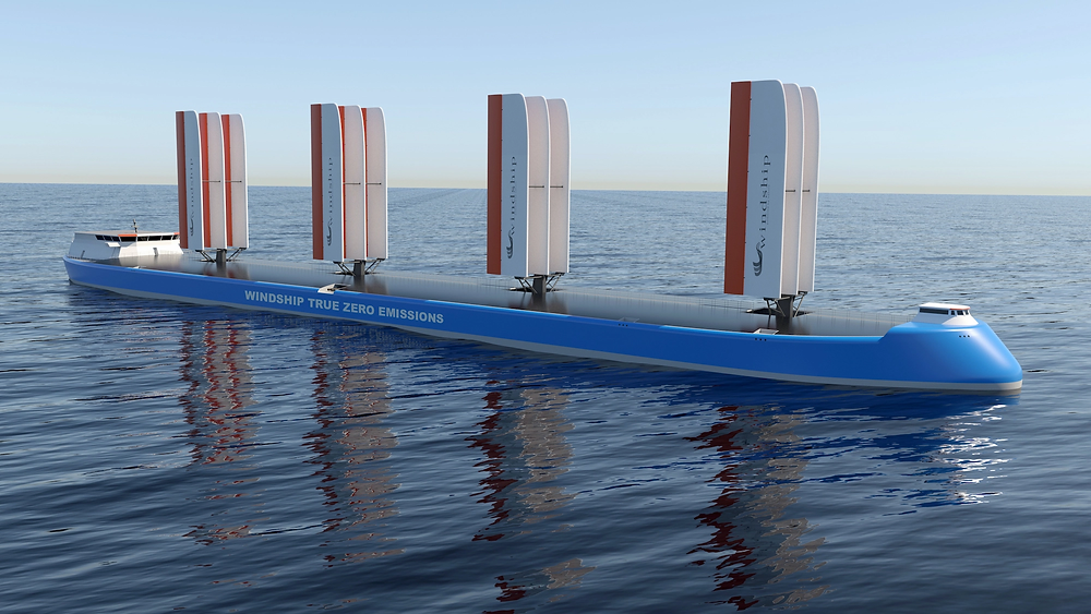 Zero-emissions ship concept on the ocean
