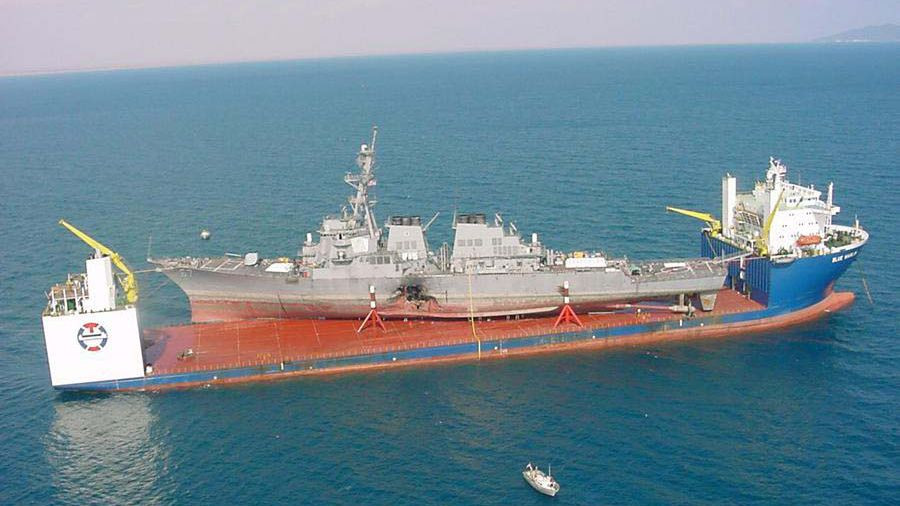 Damaged USS Cole being transported on the Blue Marlin