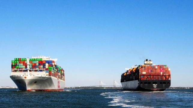 Two Container Ships passing each other on the water