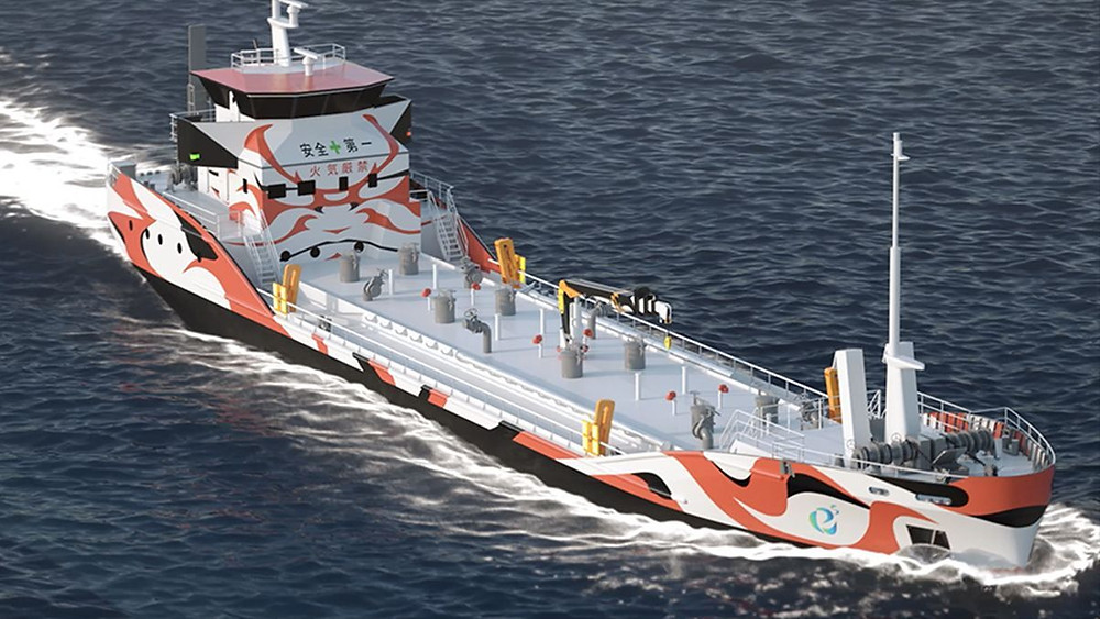 Asahi tanker all electric e5 vessel on the ocean