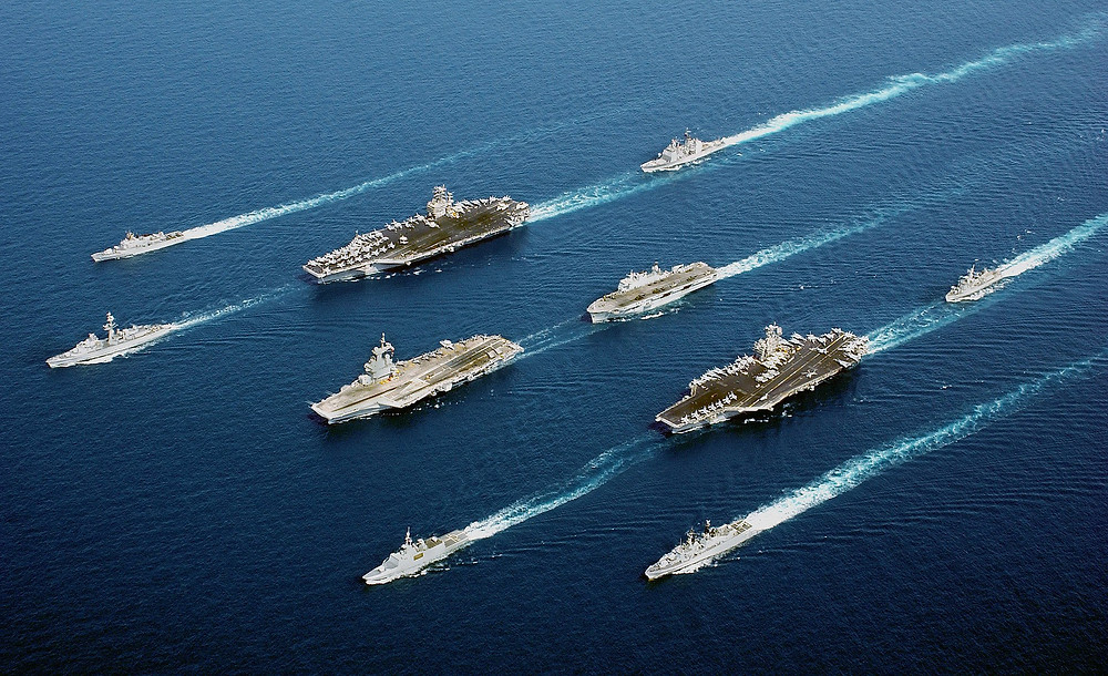 Aircraft carriers with escort vessels
