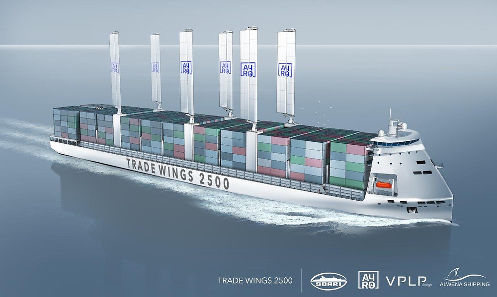 LNG and wind powered containership concept - Trade Wings 2500