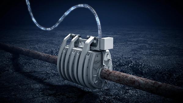 Underwater repair device on an underwater pipe