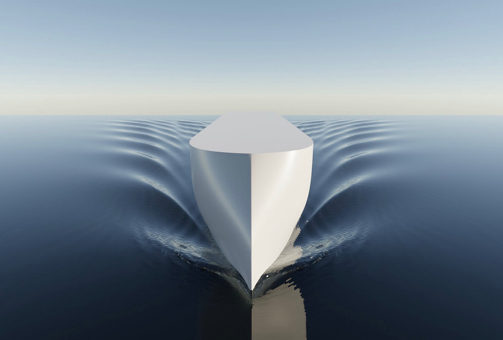 Shape of a vessel on the water