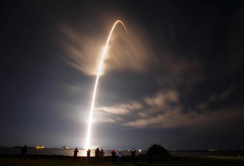 Falcon 9 rocket launch trail in the sky