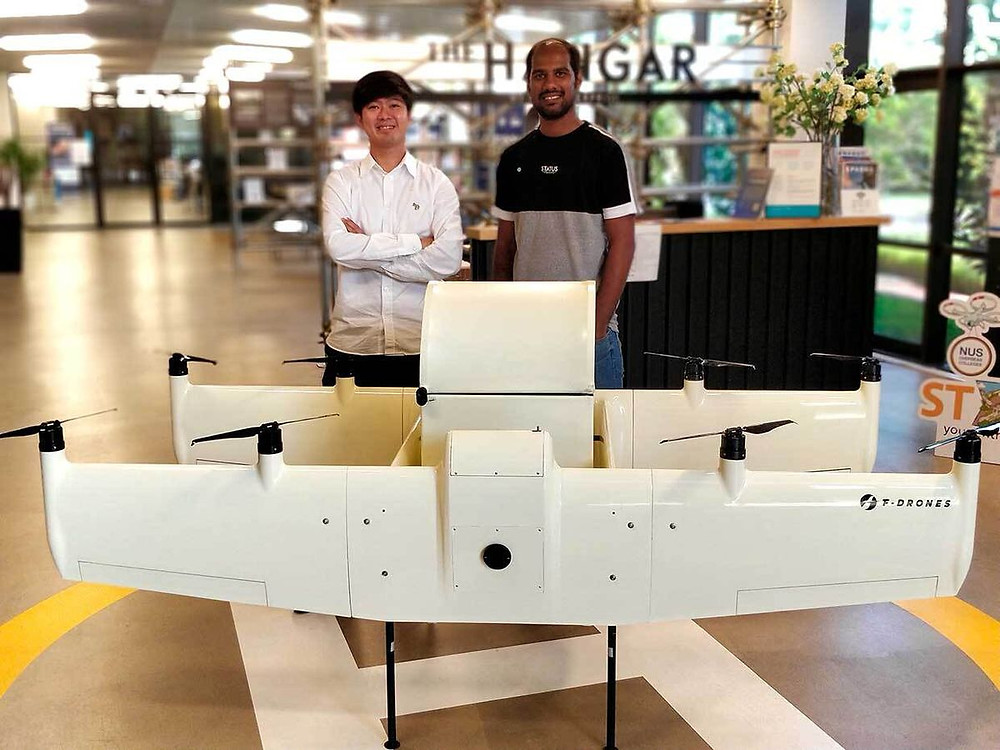 F-drone prototype with co-founders