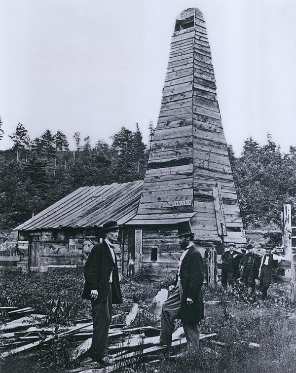 Edwin Drake and Peter Wilson at the first oil well in America in 1859.