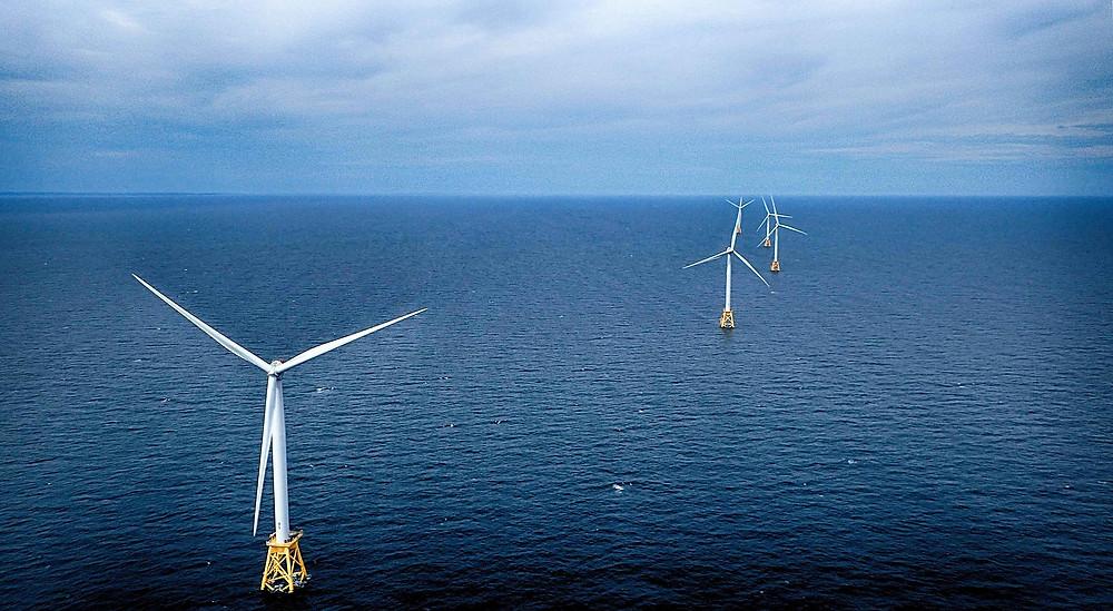 Block Island Wind farm - all five turbines aerial view