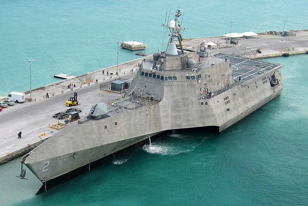 USS Independence trimaran littoral combat ship at dock
