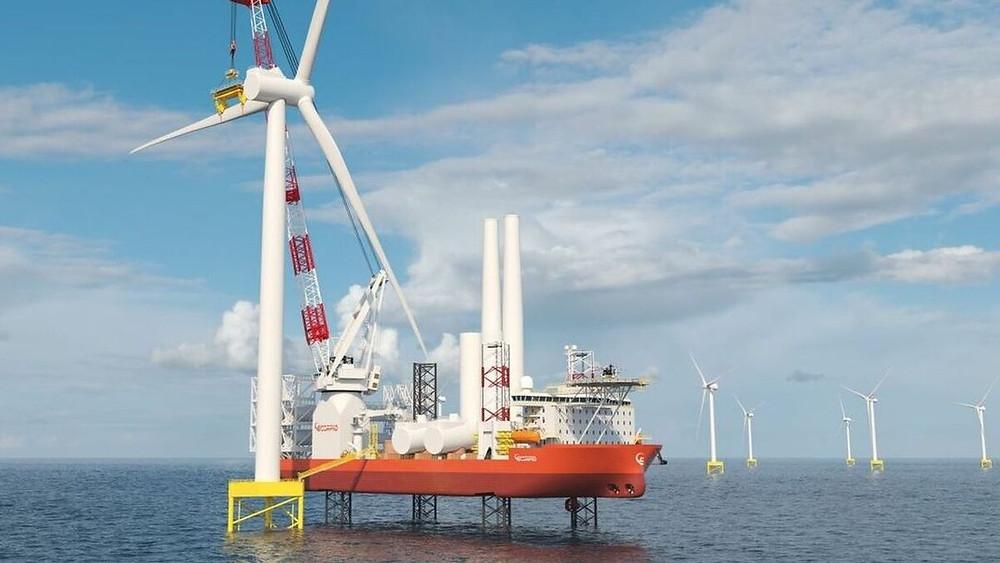 Eneti jack-up wind turbine installation vessel installing a blade on an offshore turbine.