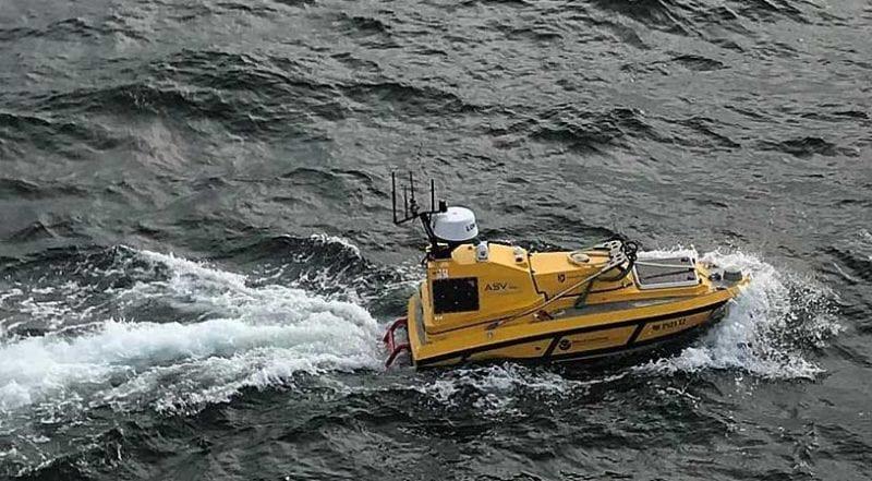Autonomous vessel in the ocean
