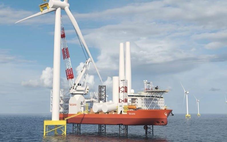 Scorpio Bulkers' Wind Turbine Installation Vessel jack-up working on a turbine
