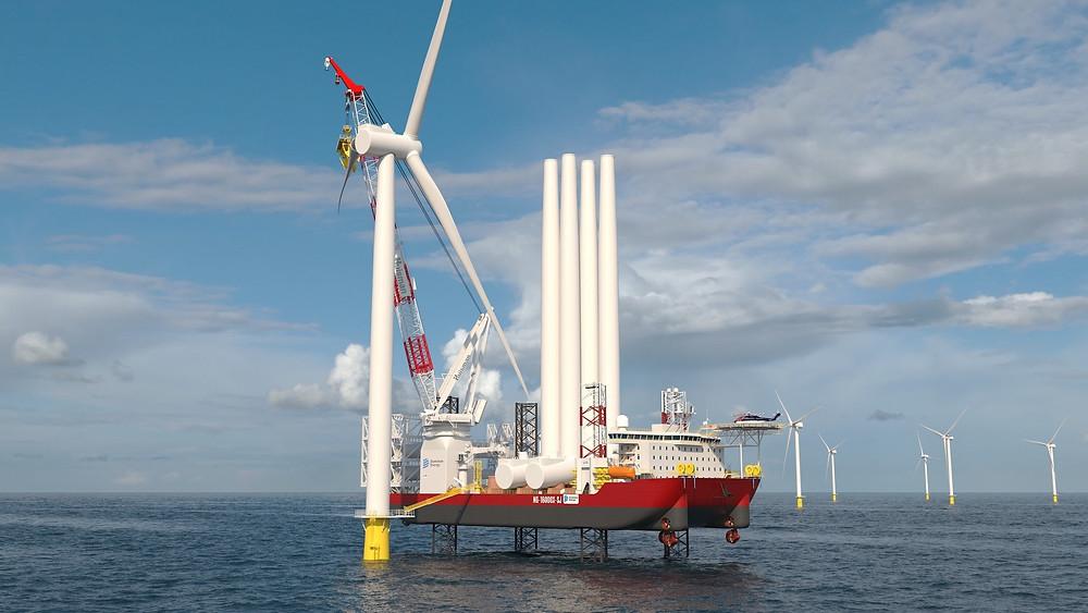 WTIV jack-up working on a wind turbine