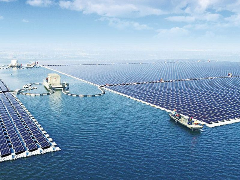 Floating solar array in China with 166,000 solar panels