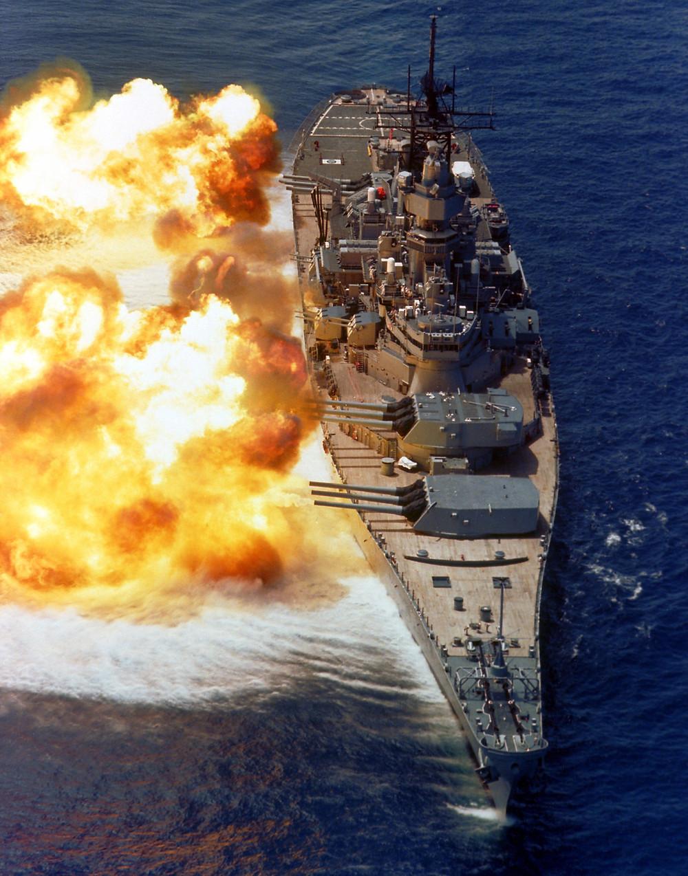 Battleship USS Iowa firing all guns