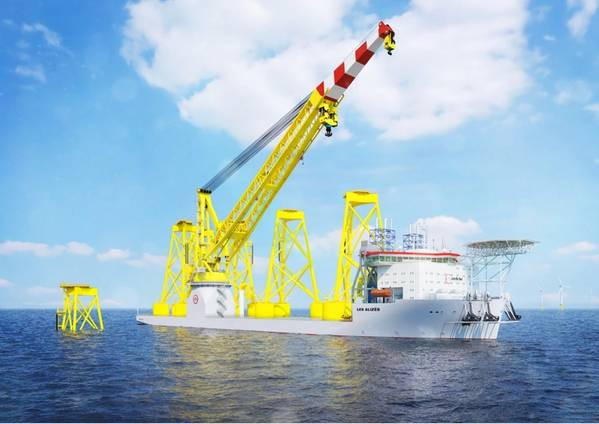 Les Alizes with large crane installing monopiles on the ocean