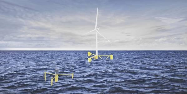 Floating wind turbine at sea