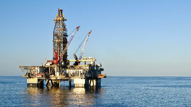Deepwater oil rig on the ocean