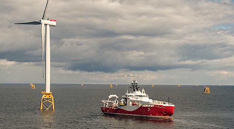 WTIV at wind turbine on the ocean