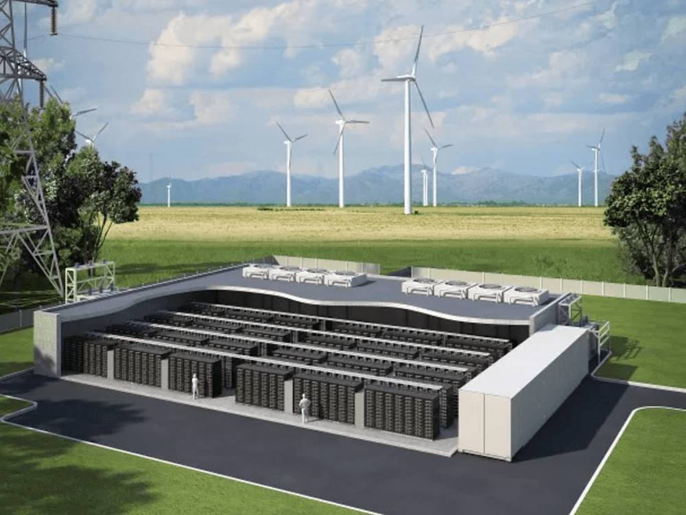 Lithium-ion grid-scale battery storage facility near a wind farm