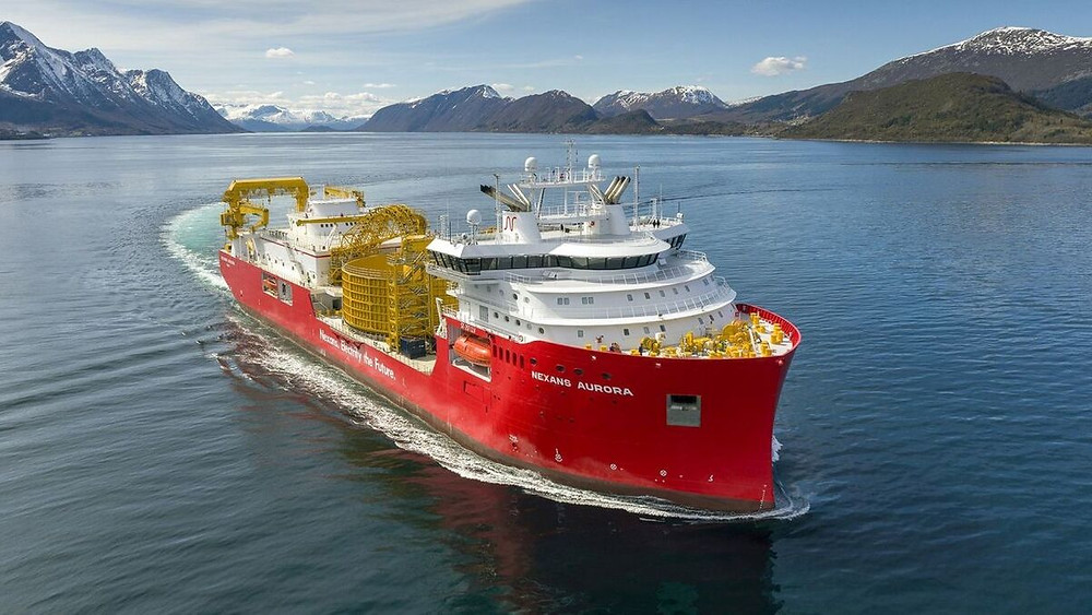 Cable lay vessel Nexans Aurora on the ocean