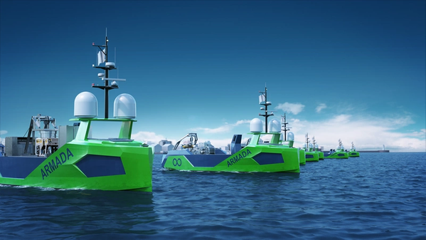 Ocean Infinity green Armada autonomous vessels on the ocean